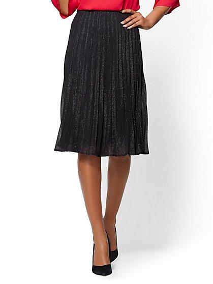 Black Pleated Metallic Skirt - New York & Company