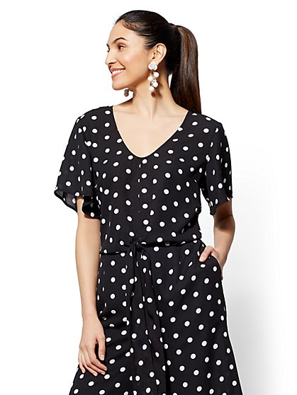 Black Polka-Dot Tie-Front Blouse - New York & Company