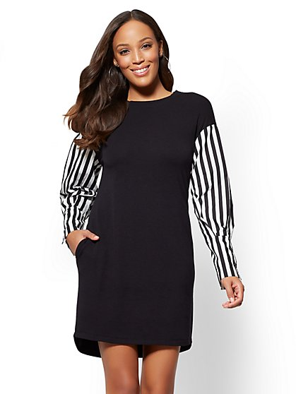 Black Poplin-Sleeve Twofer Shift Dress - New York & Company