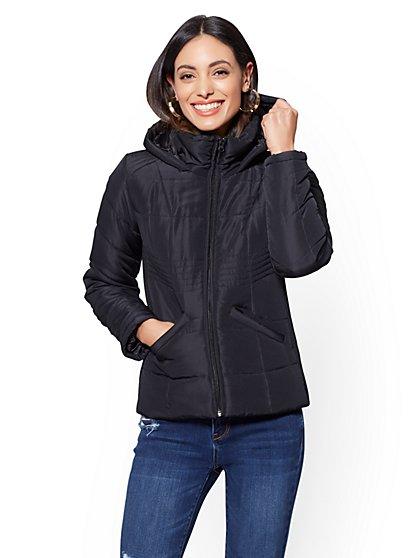 Black Puffer Hooded Jacket - New York & Company