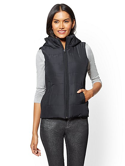 Black Quilted Hooded Vest - New York & Company