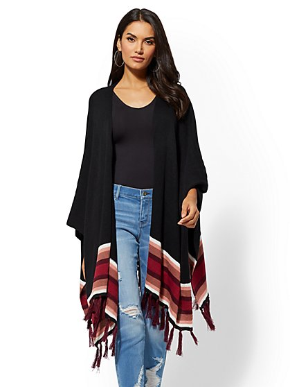 Black Stripe Fringe Poncho - New York & Company