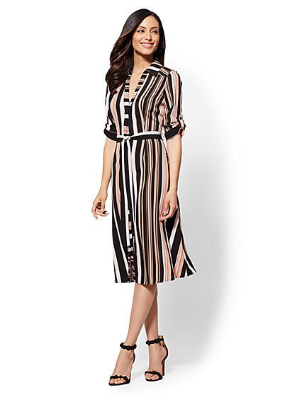 Black Stripe Midi Shirt Dress - New York & Company
