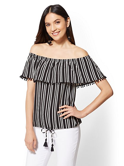Black Stripe Off-The-Shoulder Top - New York & Company