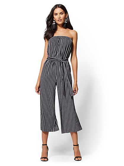 Black Stripe Strapless Jumpsuit - New York & Company