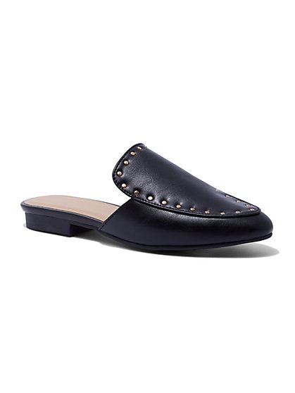 Black Studded Mule - New York & Company