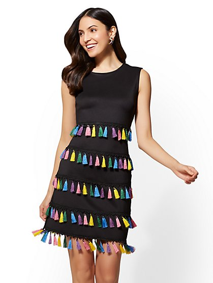 Black Tassel-Accent Shift Dress - New York & Company