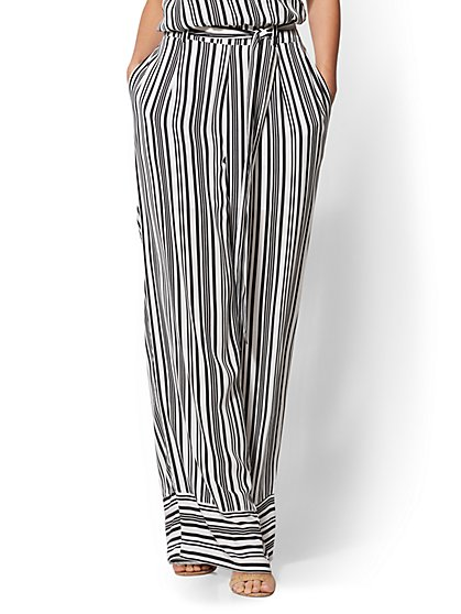 Black & White Stripe Belted Palazzo Pant - New York & Company