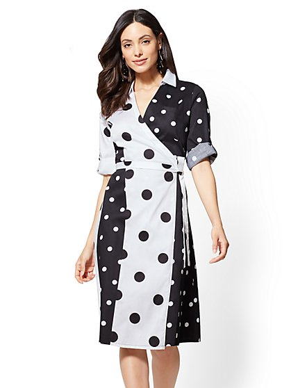 Black-and-White Dot-Print Shirtdress - New York & Company