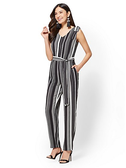 Black-and-White Striped Jumpsuit - New York & Company