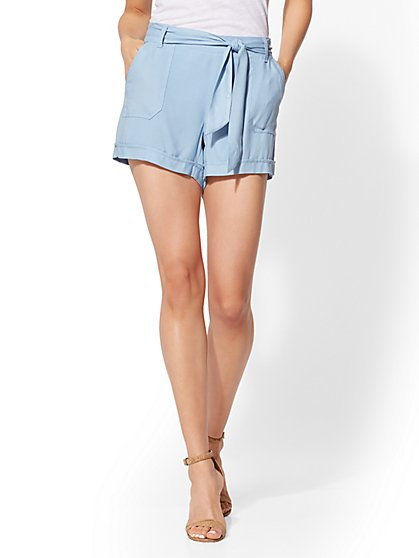 Blue Belted Soft Short - New York & Company