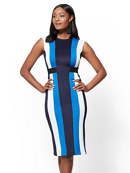 Blue Colorblock Sheath Dress - New York & Company
