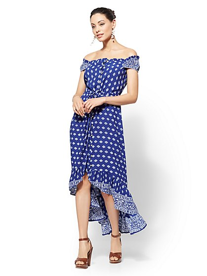 Blue Paisley Hi-Lo Maxi Dress - New York & Company
