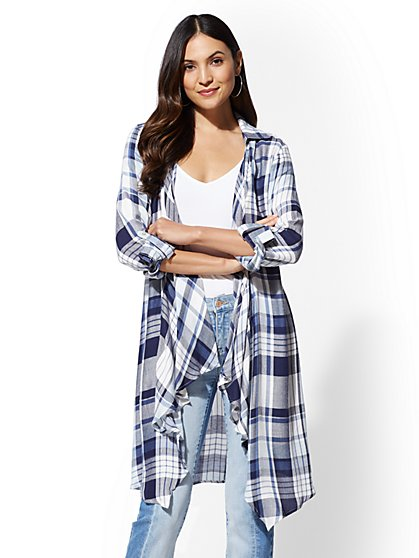 Blue Plaid Open-Front Maxi Shirt - New York & Company
