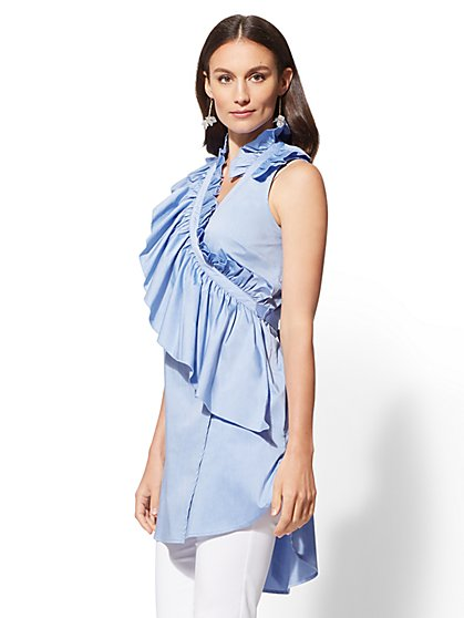 Blue Ruffled Wrap Poplin Shirt - New York & Company