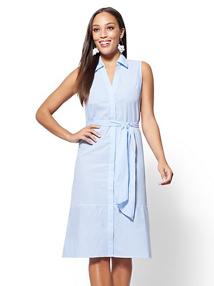 Blue Stripe Cotton Shirtdress - New York & Company