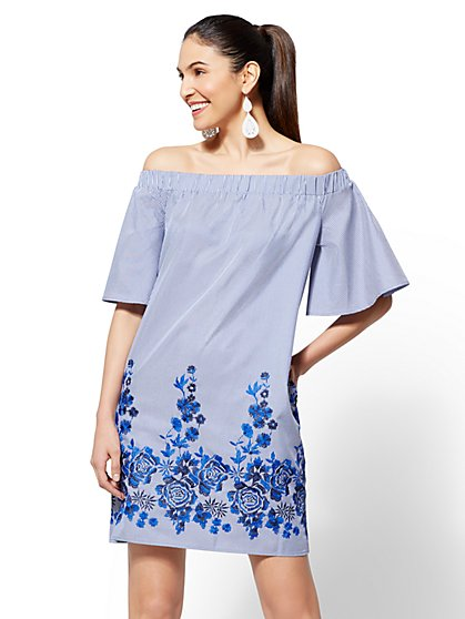 Blue Stripe Off-The-Shoulder Shift Dress - New York & Company