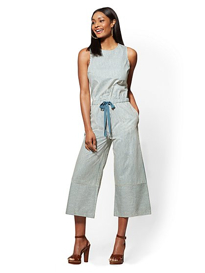 Blue Striped Culotte Jumpsuit - New York & Company