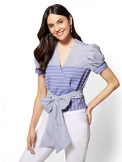 Blue & White Striped Wrap Poplin V-Neck Shirt - New York & Company