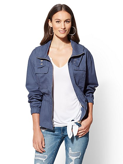 Blue Zip-Front Hooded Jacket - New York & Company