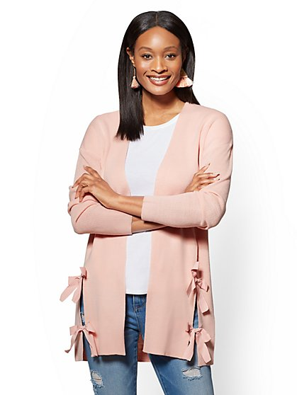 Bow-Accent Open-Front Cardigan - New York & Company