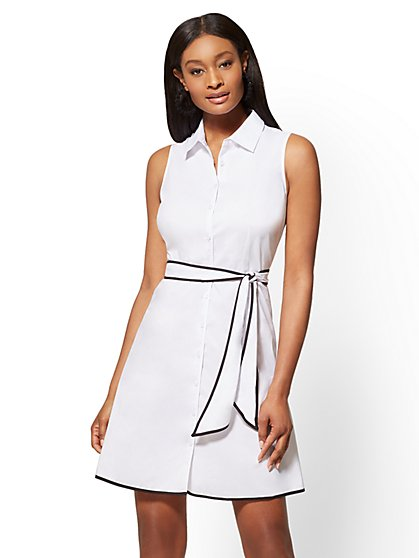 Bow-Accent Poplin Fit and Flare Dress - New York & Company