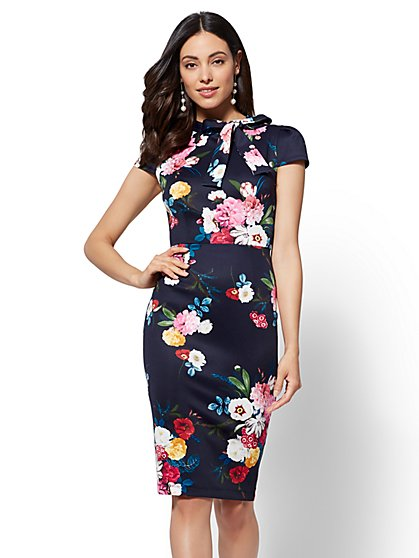 Bow-Detail Floral Sheath Dress - New York & Company