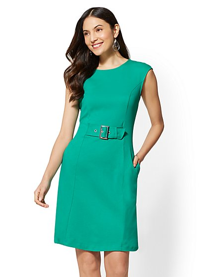 Buckle-Accent Cotton Fit and Flare Dress - New York & Company
