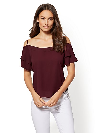 Burgundy Cold-Shoulder Blouse - New York & Company