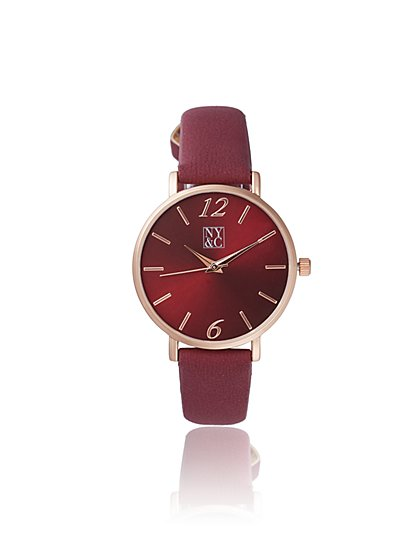 Burgundy Faux-Leather Band Watch - New York & Company