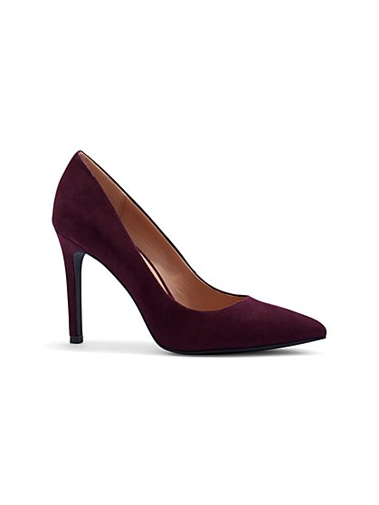 Burgundy Faux-Suede Pump - New York & Company