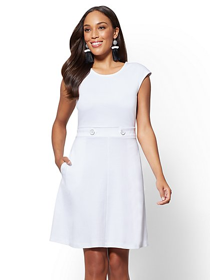 Button-Accent Cotton Fit and Flare Dress - New York & Company