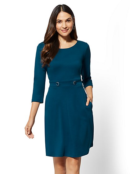 Button-Accent Fit and Flare Dress - New York & Company