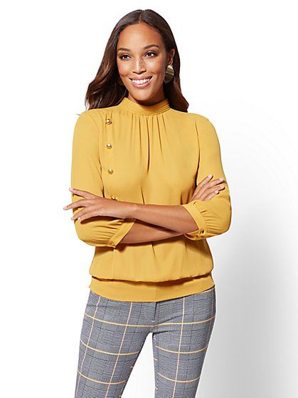 Button-Accent Mock-Neck Blouse - New York & Company