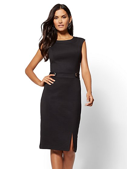 Button-Accent Ponte Sheath Dress - New York & Company