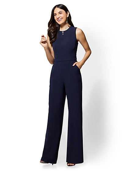 Button-Accent Seamed Jumpsuit - New York & Company