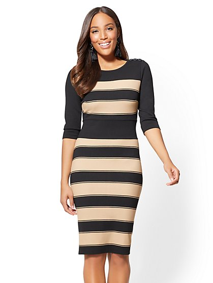 Button-Accent Sheath Dress - Stripe - New York & Company