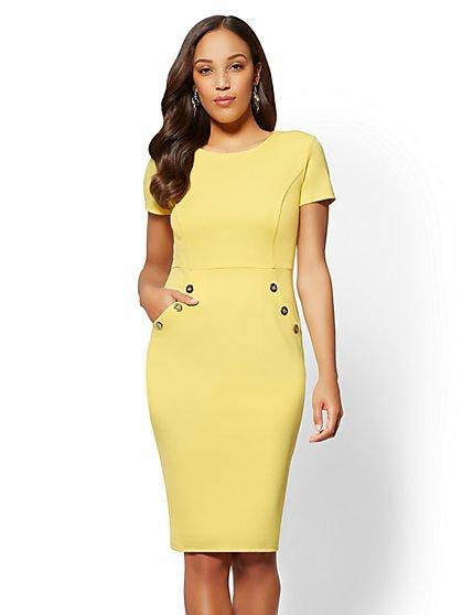 Button-Accent Sheath Dress - New York & Company