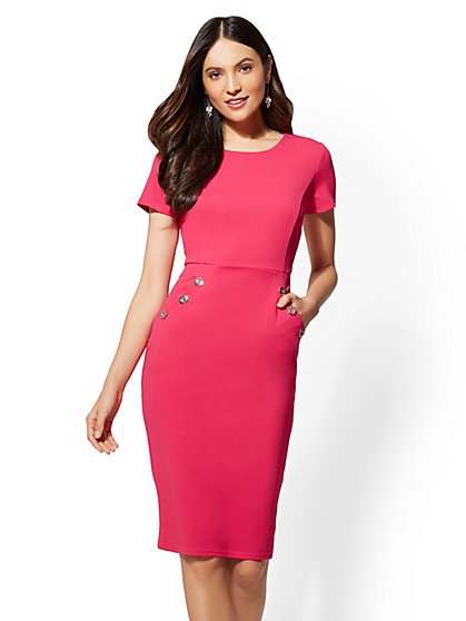 Button-Accent Sheath Dress - New York & Company
