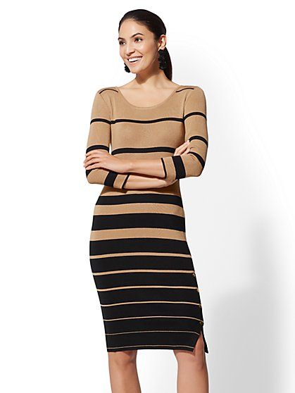 Button-Accent Stripe Sweater Dress - New York & Company