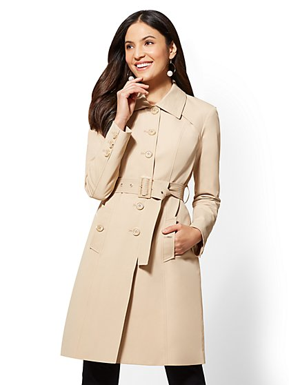 Button-Front Trench Coat - New York & Company