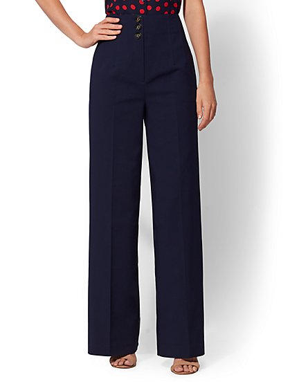 Button-Front Wide-Leg Pant - New York & Company