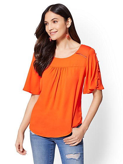 Button-Sleeve Open-Stitch Blouse - New York & Company