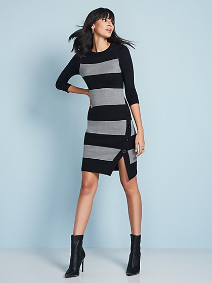 Button-Trim Stripe Sweater Dress - New York & Company