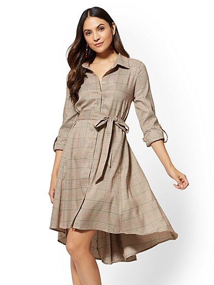 Camel Plaid Hi-Lo Shirtdress - New York & Company
