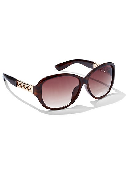 Chain-Link Accent Oval Sunglasses - New York & Company