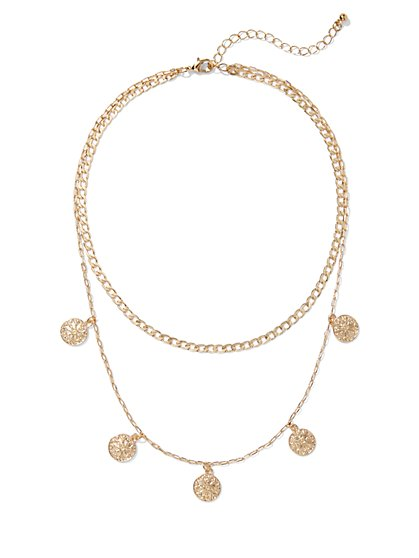Coin-Accent Goldtone Layered Necklace - New York & Company