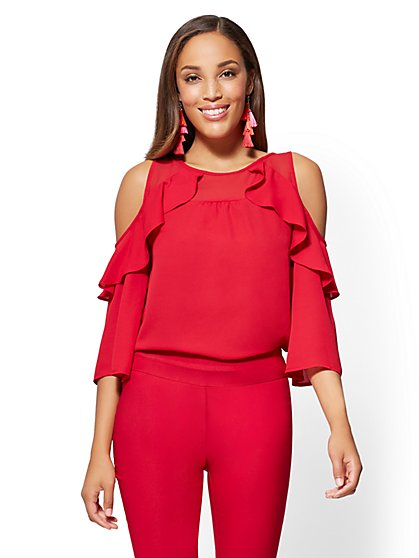 Cold-Shoulder Cascade-Ruffle Blouse - Red - New York & Company