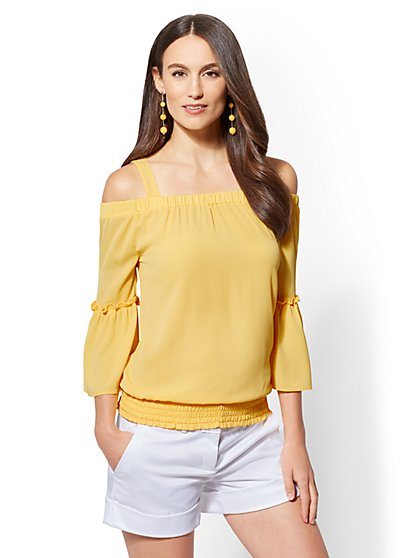 Cold-Shoulder Flounced-Sleeve Top - New York & Company