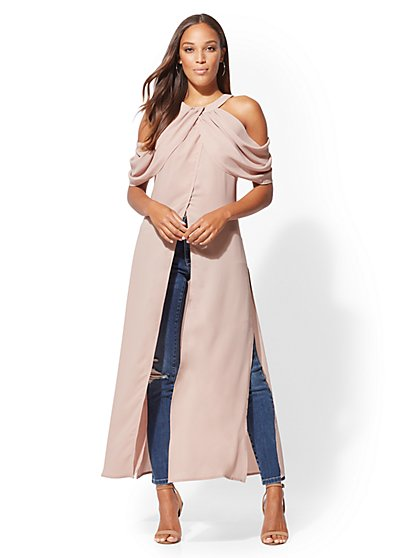 Cold-Shoulder Maxi Blouse - New York & Company